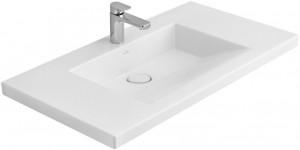 Раковина для ванной на тумбу умывальник-столешница Villeroy & Boch коллекция Metric Art белая 519511R1