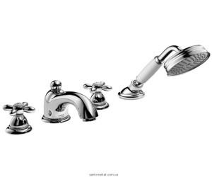 Смеситель двухвентильный на борт ванны с душем Hansgrohe коллекция Axor Carlton хром 17444000