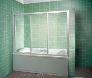 Ravak Штора д/ванны AVDP 3-140 Рейн, профиль белый, пласт. 40VM010241