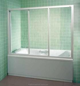 Ravak Штора д/ванны AVDP 3-180 Грейп, профиль белый, стекло 40VY0102ZG