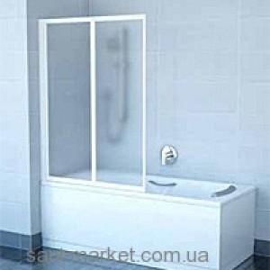 Ravak Штора д/ванны VS 2 105 Грейп, профиль белый, стекло 796M0100ZG