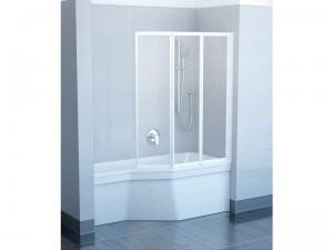 Ravak Штора д/ванны VS 3 130 Транспарент, профиль белый, стекло 795V0100Z1