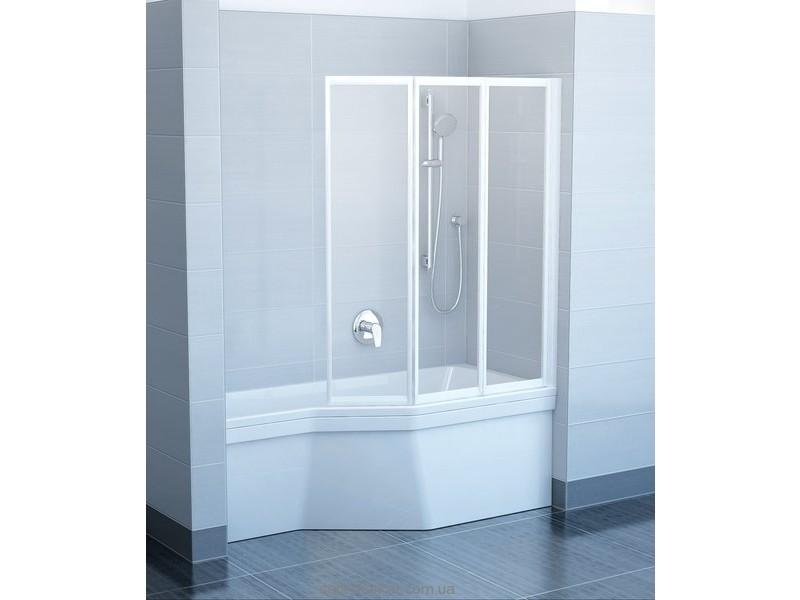 Ravak Штора д/ванны VS 3 130 Рейн, профиль белый, пласт. 795V010041
