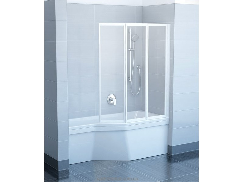 Ravak Штора д/ванны VS 3 115 Рейн, профиль белый, пласт. 795S010041