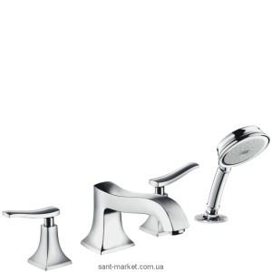 Смеситель двухвентильный на борт ванны с душем Hansgrohe коллекция Metris Classic хром 31314000