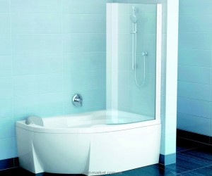 Ravak Штора д/ванны EVSK 1-85 РОСА 150/160 R Транспарент, стекло 76P60100Y1