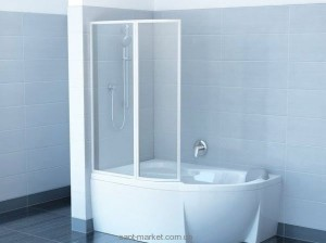 Ravak Штора д/ванны VSK 2 РОСА 140 L Рейн, пласт. 76L7010041