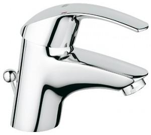 Смеситель для раковины однорычажный с донным клапаном Grohe коллекция Eurosmart матовый хром 3292500E