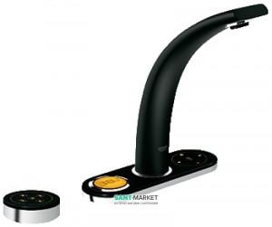 Смеситель для раковины электронный сенсорный с донным клапаном Grohe Ondus черный 36082KS0