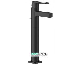Смеситель для раковины однорычажный с донным клапаном напольный высокий Grohe Quadra черный 32633KS0
