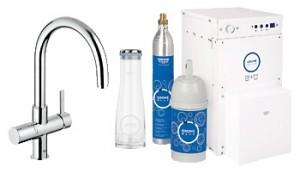 Набор смеситель для кухни с фильтром GROHE Blue однорычажный с газированием воды 31079000