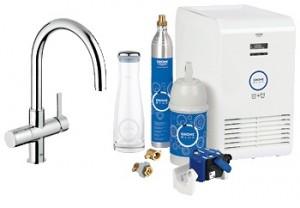 Набор смеситель для кухни с фильтром GROHE Blue однорычажный с газированием воды 31323000
