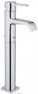 Смеситель для раковины однорычажный с донным клапаном высокий Grohe коллекция Allure хром 32760000