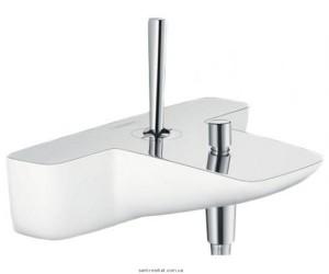 Смеситель с джойстиком для ванны с коротким изливом Hansgrohe коллекция PuraVida белый/хром 15472400