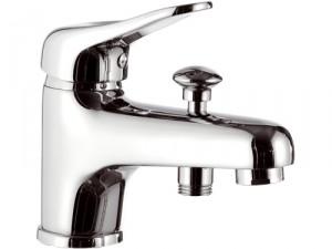 Смеситель для ванны однорычажный с коротким изливом Remer Rubinetterie Kiss хром/золото K04-B