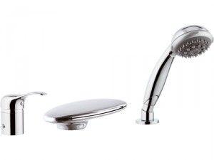 Смеситель однорычажный на борт ванны с душем Remer Rubinetterie коллекция Musa хром/золото M07UF-C