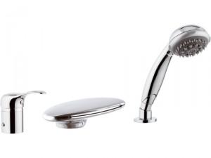 Смеситель однорычажный на борт ванны с душем Remer Rubinetterie коллекция Musa сатин/хром M07UF-B