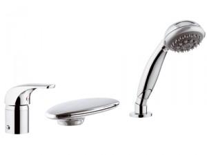 Смеситель однорычажный на борт ванны с душем Remer Rubinetterie коллекция Project хром/золото P07UF-C
