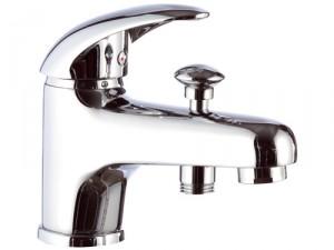 Смеситель однорычажный для ванны с коротким изливом Remer Rubinetterie Ten хром/золото T04-C
