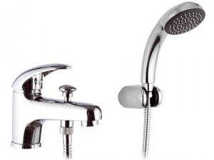 Смеситель однорычажный на борт ванны с душем Remer Rubinetterie коллекция Ten хром/золото T03-C