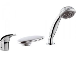 Смеситель однорычажный на борт ванны с душем Remer Rubinetterie коллекция Giga Four хром/золото G07UF-C