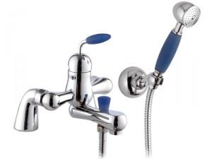 Смеситель однорычажный на борт ванны с душем Remer Rubinetterie коллекция Blue сатин/хром B08UKBL-B