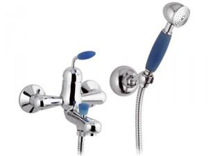 Смеситель однорычажный с коротким изливом и душем Remer Rubinetterie коллекция Blue сатин/хром B02BL-B