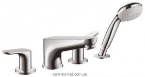 Смеситель двухвентильный на борт ванны с душем Hansgrohe коллекция Focus E2 хром 31936000