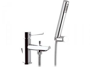 Смеситель для ванны однорычажный с душем Remer Rubinetterie Minimal сатин/хром N03-С