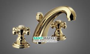 Смеситель для раковины двухвентильный скрытый с донным клапаном Kludi Adlon золото 510434520
