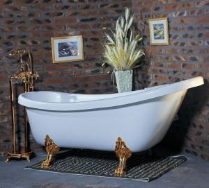 Ванна акриловая овальная Wisemaker 165х78х73 WA-1708 -D перламутровая + львиные ноги (gold)