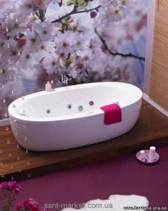 Ванна акриловая овальная PoolSpa коллекция Aura 204х103х58 PWRV010ZS000000 + рама