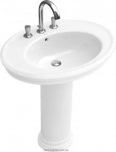 Раковина для ванной на пьедестал Villeroy & Boch коллекция Amadea белая 718575R3