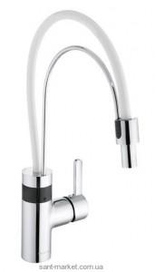 Сенсорный смеситель для кухни с выдвижной лейкой Kludi E-Go однорычажный белый-хром 422050575