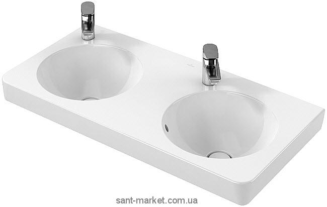 Раковина для ванной подвесная двойная Villeroy&Boch коллекция Joyce белая 4108A201