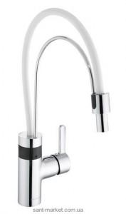 Сенсорный смеситель для кухни с выдвижной лейкой Kludi E-Go однорычажный белый-хром 422150575