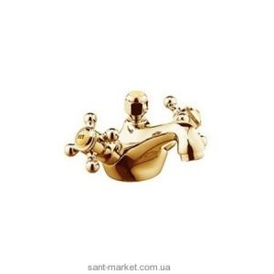 Смеситель для раковины двухвентильный с донным клапаном Kludi коллекция Adlon золото 510124520