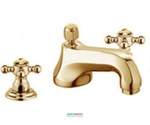 Смеситель для раковины двухвентильный с донным клапаном скрытый Kludi Adlon золото 510464520