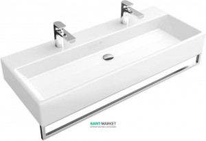 Раковина для ванной подвесная двойная с вешалкой Villeroy & Boch коллекция Memento белая 5133A301