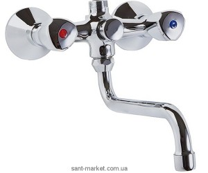 Смеситель двухвентильный для ванны с длинным изливом Kludi коллекция Standard хром 251210515