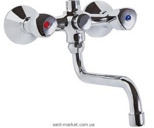 Смеситель двухвентильный для ванны с длинным изливом Kludi коллекция Standard хром 251010515