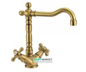 Смеситель для раковины двухвентильный с донным клапаном Fiore Margot золото 26G62501