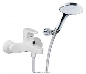 Смеситель однорычажный для ванны с душем TREEMME коллекция Cleo хром/белый 6300BC