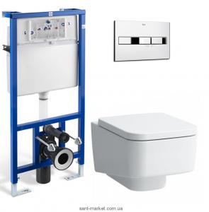Унитаз подвесной Laufen Pro S 8209610000001+H8919610000001 + Инсталляция Roca A89009000K + Кнопка A890096001