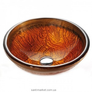Раковина для ванной накладная Kraus золотисто-коричневая GV-600-19mm