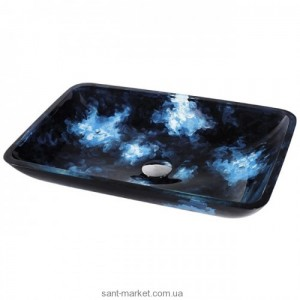Раковина для ванной накладная Kraus сине-голубая GVR-430-RE-15mm