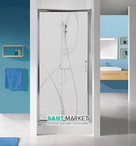 Душевая дверь в нишу SANPLAST TX стеклянная раздвижная на роликах 120х190 D2/TX5-120 sbCR
