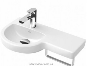 Раковина для ванной подвесная с вешалкой Villeroy & Boch коллекция Subway 2.0 белая 41166L01