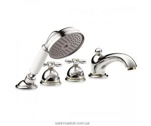 Смеситель с термостатом двухвентильный на борт ванны с душем Hansgrohe Axor Carlton хром/золото 17466090