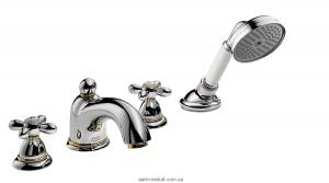 Смеситель с термостатом на борт ванны с душем Hansgrohe Axor Carlton хром/золото 17444090